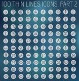 Del 2 av tunna linjer pictogramsymbolsuppsättning för samling Arkivbilder