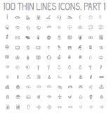 Del 2 av tunna linjer pictogramsymbolsuppsättning för samling Royaltyfri Bild