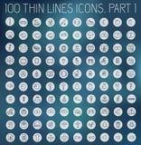 Del 2 av tunna linjer pictogramsymbolsuppsättning för samling Royaltyfri Foto