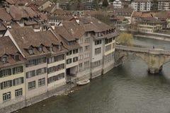 Del av Untertorbrà ¼cke och gammal stad av Bern switzerland Fotografering för Bildbyråer