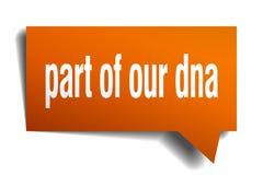 Del av vår bubbla för anförande 3d för dna orange stock illustrationer