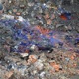 ` Del azul de Berlín del `, un compuesto venenoso del cianuro, ácido cianhídrico, en el subsuelo del emplazamiento de la obra par imagenes de archivo