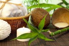 Del bambú y de coco de la leche del balneario todavía del cosmético vida Foto de archivo libre de regalías