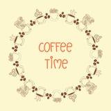 Del café del tiempo marco alrededor stock de ilustración
