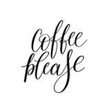 Del caffè mano in bianco e nero prego scritta iscrizione Fotografie Stock Libere da Diritti