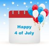 4 del calendario del día de julio Foto de archivo libre de regalías