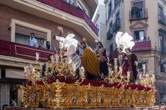 Del Carmen Painful Holy Week de confrérie en Séville images libres de droits