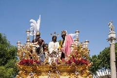 Del Carmen Painful Holy Week de la fraternidad en Sevilla Foto de archivo