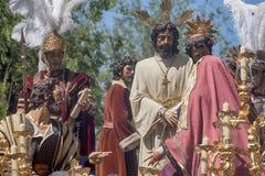 Del Carmen Painful Holy Week de la fraternidad en Sevilla Imágenes de archivo libres de regalías
