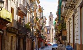Del Carmen Spain del barrio hispano de la calle de Valencia Bolseria Fotografía de archivo