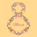 Del 8 cartolina d'auguri internazionale di giorno delle donne s marzo La mimosa fiorisce, tulipano, camomilla infusa sotto forma  royalty illustrazione gratis