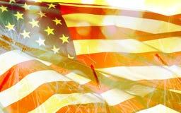 4 del concepto del Día de la Independencia de julio con la bengala Imagenes de archivo