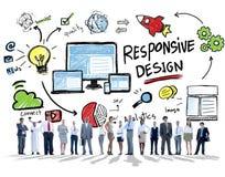 Del concepto del diseño del web responsivo de Internet hombres de negocios en línea Imagenes de archivo