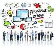 Del concepto del diseño del web responsivo de Internet hombres de negocios en línea Fotografía de archivo libre de regalías