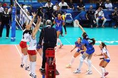 Del core italy. Antonella del core in action in the world cup volley match italy vs azerbaijan Royalty Free Stock Photo
