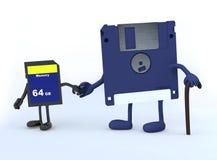 Del disco blando y Memory Stick que caminan Imagen de archivo