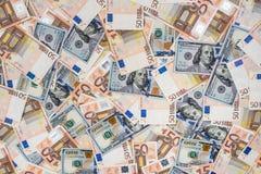 50 del dollaro 100 e di wuro banconote Immagini Stock Libere da Diritti