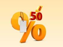 50 del ejemplo de la venta 3d de la oferta especial Símbolo del precio de oferta del descuento Fotografía de archivo