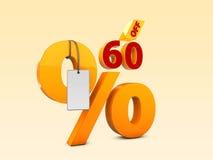 60 del ejemplo de la venta 3d de la oferta especial Símbolo del precio de oferta del descuento Fotografía de archivo libre de regalías