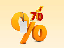 70 del ejemplo de la venta 3d de la oferta especial Símbolo del precio de oferta del descuento Fotografía de archivo