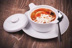 Del este - rassolnik europeo de la sopa en cuenco Fotografía de archivo libre de regalías