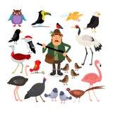 del Fågel- och jägarevektorillustration royaltyfri illustrationer
