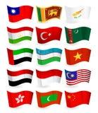 Del 3 för flaggor för Asien landsflyg fastställd vektor illustrationer