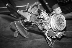 Del för motor för styrning för springa för fartyg fotografering för bildbyråer