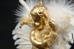 del för prydnad för iv för ängeljul guld- Arkivfoton