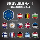 Del 1 för sköld för Europa facklig sexhörningsflaggor vektor illustrationer