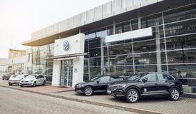 08 del febbraio 2019 - Vinnitsa, l'Ucraina Sala d'esposizione del VW di Volkswagen fotografia stock