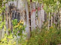 Del funcionamiento cerca de madera vieja abajo con la pintada para arriba pintada cubierta Imagen de archivo libre de regalías