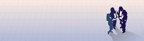 Del grupo de la silueta hombres de negocios que coloca la opinión de ángulo superior, colega Team Banner With Copy Space de los e Imagenes de archivo