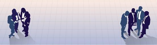 Del grupo de la silueta hombres de negocios que coloca la opinión de ángulo superior, colega Team Banner With Copy Space de los e Imagen de archivo libre de regalías