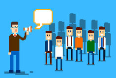 Del hombre de negocios de Boss Hold Megaphone Loudspeaker de Team Leader Group Businesspeople de los colegas hombres de negocios Imagenes de archivo