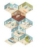 Del hospital concepto de diseño isométrico dentro stock de ilustración