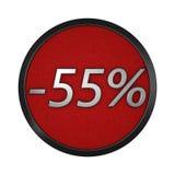 ` Del icono del descuento - ` del 55% Ejemplo gráfico aislado representación 3d Foto de archivo libre de regalías