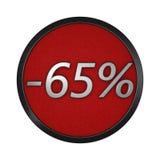 ` Del icono del descuento - ` del 65% Ejemplo gráfico aislado representación 3d Fotografía de archivo libre de regalías