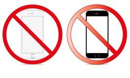 Del interruptor móvil de la muestra del icono del teléfono ningún símbolo amonestador móvil permitido teléfono fotos de archivo libres de regalías