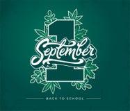 1 del 1 iscrizione della spazzola settembre sul fondo verde della lavagna Illustrazione di vettore con le foglie di autunno e di  royalty illustrazione gratis