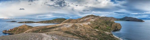 del isla sol 太阳的海岛在Titicaca湖的 流星锤 免版税库存图片