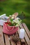 Del jardín todavía del trabajo vida en verano Flores de la manzanilla en bolso hecho a mano rojo Fotografía de archivo libre de regalías