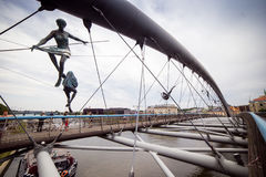 10 del luglio 2017 Cracovia, Polonia-ponte sopra il Vistola in Krak Immagini Stock