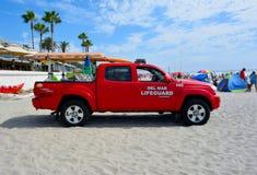 Del Mar海滩救生员救护车 免版税图库摄影