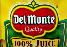 Del Monte Canned Fruit och varumärkeslogo royaltyfria foton