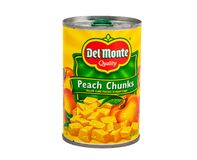 Del Monte Peach Chunks royaltyfria foton