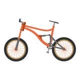 Del mountain bike di vettore estremo in discesa Illustrazione piana del fumetto isolata su fondo bianco Immagine Stock