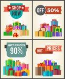 Del negozio etichette di promo di sconto di prezzi 90 caldi ora mezze Immagine Stock