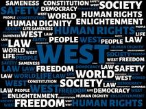 DEL OESTE - imagen con las palabras asociadas a la COMUNIDAD DE VALORES, palabra, imagen, ejemplo del tema Imagen de archivo