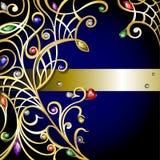 Del oro fondo jewerly con las gemas Fotos de archivo libres de regalías